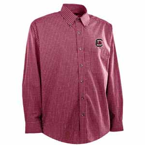 South Carolina Mens Esteem Check Pattern Button Down Dress Shirt (Team Color: Maroon) - Large
