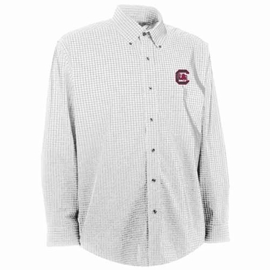 South Carolina Mens Esteem Check Pattern Button Down Dress Shirt (Color: White)
