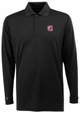 South Carolina Mens Long Sleeve Polo Shirt (Team Color: Black)