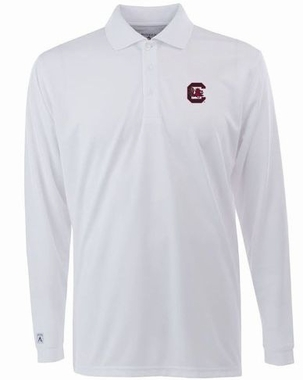 South Carolina Mens Long Sleeve Polo Shirt (Color: White)