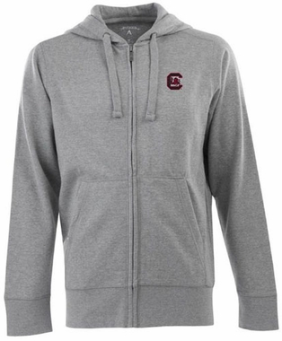 South Carolina Mens Signature Full Zip Hooded Sweatshirt (Color: Gray)