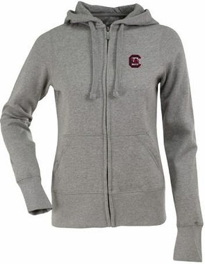 South Carolina Womens Zip Front Hoody Sweatshirt (Color: Gray)