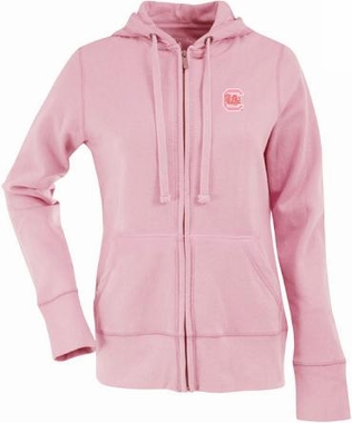 South Carolina Womens Zip Front Hoody Sweatshirt (Color: Pink)