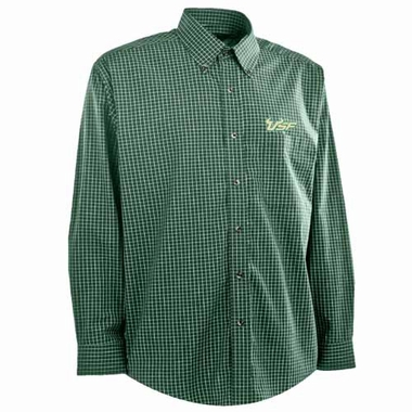 South Florida Mens Esteem Check Pattern Button Down Dress Shirt (Team Color: Green)
