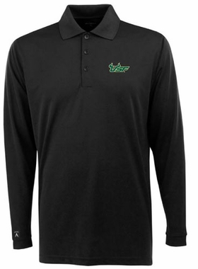 South Florida Mens Long Sleeve Polo Shirt (Color: Black)