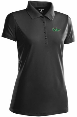 South Florida Womens Pique Xtra Lite Polo Shirt (Color: Black)
