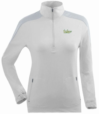 South Florida Womens Succeed 1/4 Zip Performance Pullover (Color: White)