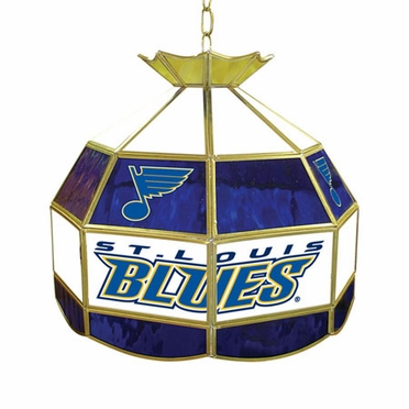 St Louis Blues 16 Inch Diameter Stained Glass Pub Light