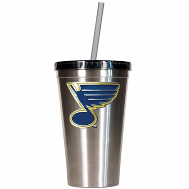 St Louis Blues 16oz Stainless Steel Insulated Tumbler with Straw