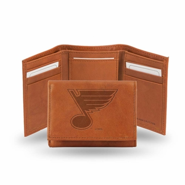 St Louis Blues Embossed Leather Trifold Wallet