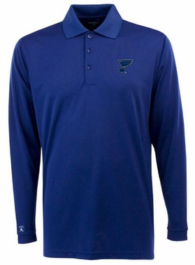 St Louis Blues Mens Long Sleeve Polo Shirt (Color: Royal)