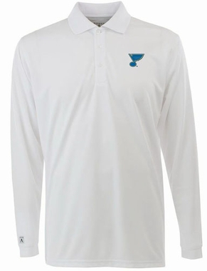 St Louis Blues Mens Long Sleeve Polo Shirt (Color: White)
