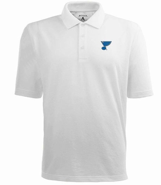St Louis Blues Mens Pique Xtra Lite Polo Shirt (Color: White)
