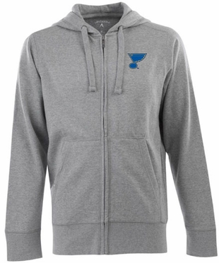St Louis Blues Mens Signature Full Zip Hooded Sweatshirt (Color: Gray)