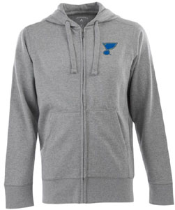 St Louis Blues Mens Signature Full Zip Hooded Sweatshirt (Color: Gray) - Small