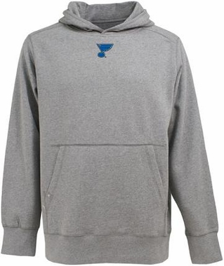St Louis Blues Mens Signature Hooded Sweatshirt (Color: Gray)
