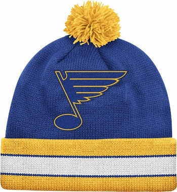 St. Louis Blues Vintage Jersey Stripe Cuffed Knit Hat w/ Pom