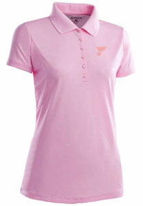 St Louis Blues Womens Pique Xtra Lite Polo Shirt (Color: Pink) - Small