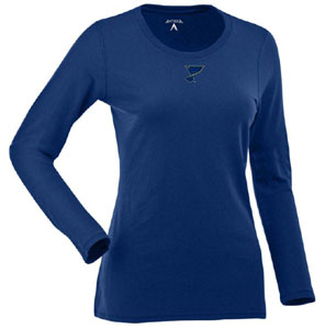 St Louis Blues Womens Relax Long Sleeve Tee (Team Color: Royal) - Large