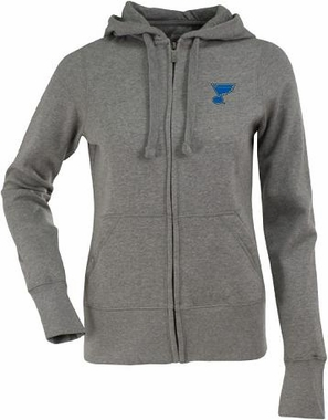 St Louis Blues Womens Zip Front Hoody Sweatshirt (Color: Gray)