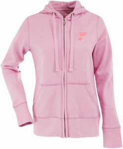 St Louis Blues Womens Zip Front Hoody Sweatshirt (Color: Pink) - Large