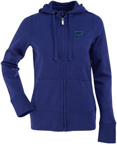 St Louis Blues Womens Zip Front Hoody Sweatshirt (Team Color: Royal) - Large