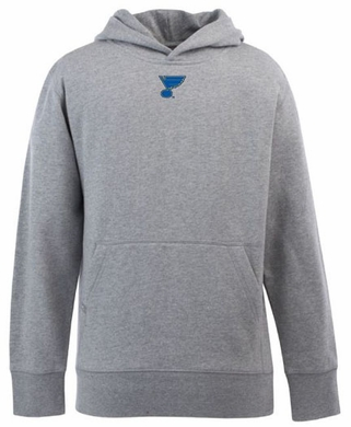 St Louis Blues YOUTH Boys Signature Hooded Sweatshirt (Color: Gray)