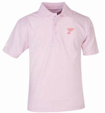 St Louis Blues YOUTH Unisex Pique Polo Shirt (Color: Pink)