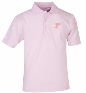 St Louis Blues YOUTH Unisex Pique Polo Shirt (Color: Pink) - Medium