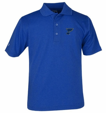 St Louis Blues YOUTH Unisex Pique Polo Shirt (Team Color: Royal)