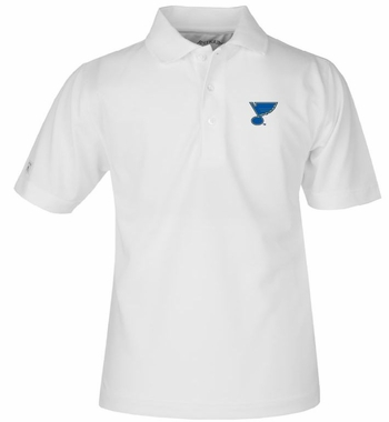 St Louis Blues YOUTH Unisex Pique Polo Shirt (Color: White)