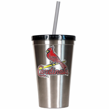 St Louis Cardinals 16oz Stainless Steel Insulated Tumbler with Straw