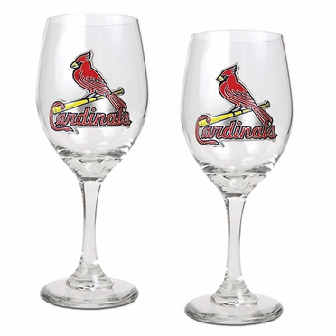 St Louis Cardinals 2 Piece Wine Glass Set