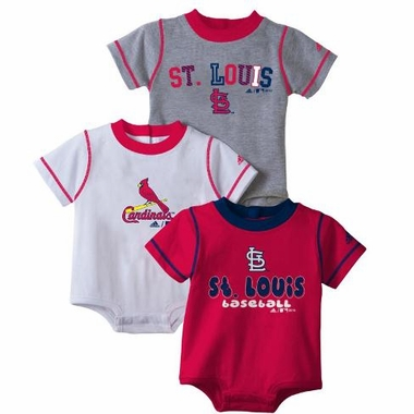 St Louis Cardinals 3 Pack Creeper Set