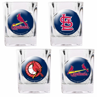 St Louis Cardinals 4 Piece Assorted Shot Glass Set
