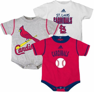 St Louis Cardinals Adidas 3 Pack Bodysuit Creeper Set