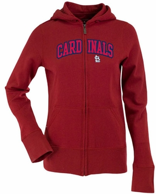 St Louis Cardinals Applique Womens Zip Front Hoody Sweatshirt (Team Color: Red)