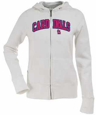 St Louis Cardinals Applique Womens Zip Front Hoody Sweatshirt (Color: White)