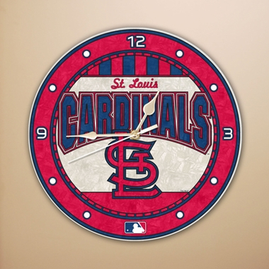 St Louis Cardinals Art Glass Clock