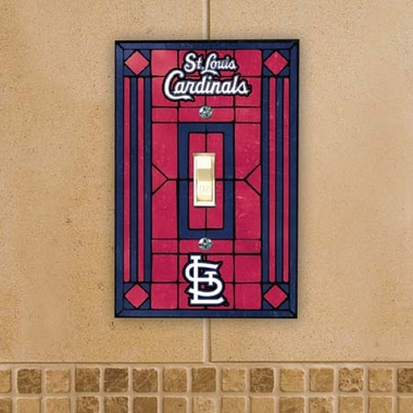 St Louis Cardinals Art Glass Lightswitch Cover