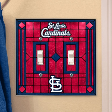 St Louis Cardinals Art Glass Lightswitch Cover (Double)