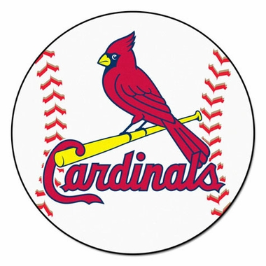 St Louis Cardinals 27 Inch Baseball Shaped Rug