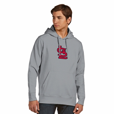St Louis Cardinals Big Logo Mens Signature Hooded Sweatshirt (Color: Gray) - Large