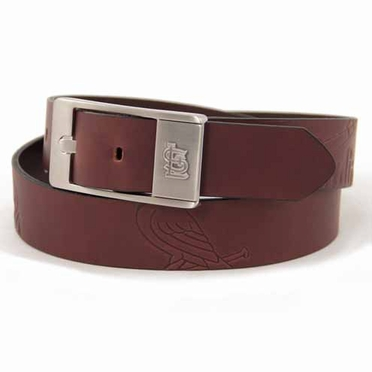 St Louis Cardinals Brown Leather Brandished Belt