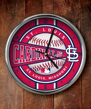 St Louis Cardinals Chrome Clock