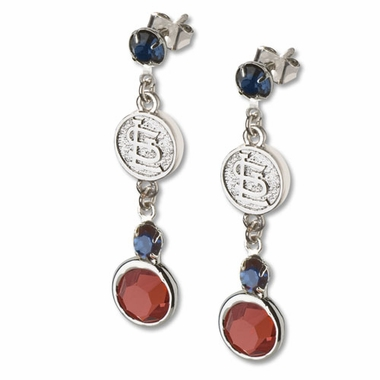 St Louis Cardinals Crystal Logo Dangle Earrings