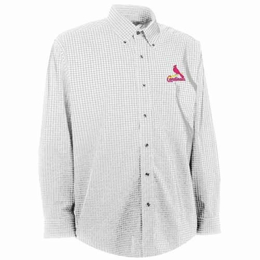 St Louis Cardinals Mens Esteem Check Pattern Button Down Dress Shirt (Color: White)