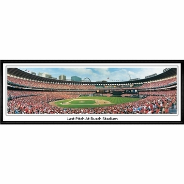 St Louis Cardinals Last Pitch at Busch Stadium Framed Panoramic Print