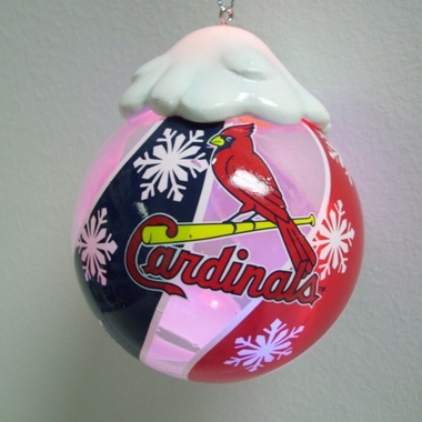 St Louis Cardinals Light Up Glass Ball Ornament