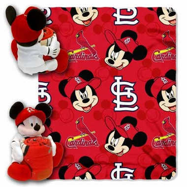 St Louis Cardinals Mickey Mouse Pillow / Throw Combo